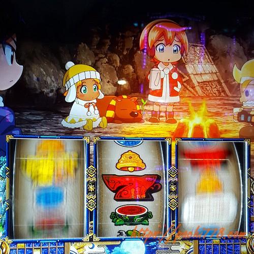 もっと!クレアの秘宝伝 女神の歌声と太陽の子供達 中リール赤7中断 すべりで同色ビッグ確定
